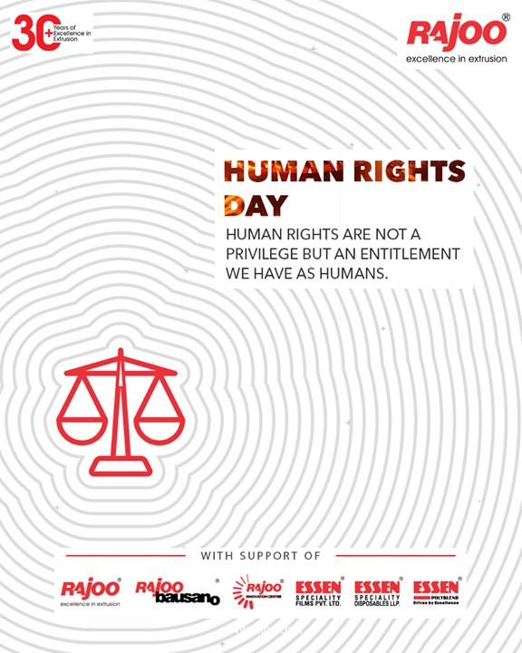 Human Rights are not a privilege but an entitlement we have as humans.  #InternationalHumanRightsDay #HumanRightsDay #HumanRightsDay2020 #HumanRights #RajooEngineers #Rajkot #PlasticMachinery #Machines #PlasticIndustry