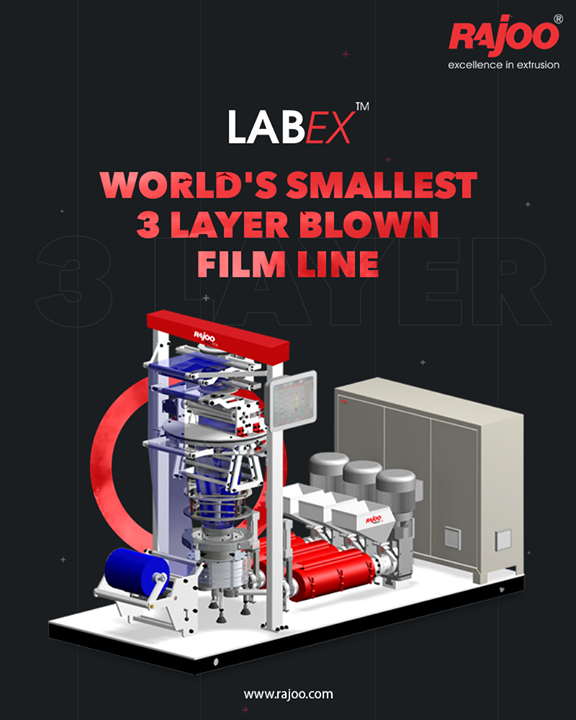 Though being smallest in the world, this lab line contains all the assemblies and features of a high‐tech 3layer blown film line like barrier screw, concentric spiral co‐ex die, oscillating haul-off, IBC, servo drives, and touch screen control which reduce the power consumption to a great extent.   LabEX - Nano – 3 layer blown film line can produce a thermoplastic film of thickness from 8 to 100 microns, widths of 40 to 250mm in continuous length rolls.  #RajooEngineers #Rajkot #PlasticMachinery #Machines #PlasticIndustry