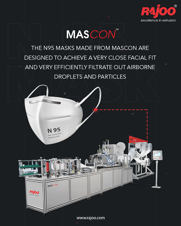The N95 Masks made from MasCon are designed to achieve a very close facial fit and very efficiently filtrate out airborne droplets and particles.  #RajooEngineers #Rajkot #PlasticMachinery #Machines #PlasticIndustry