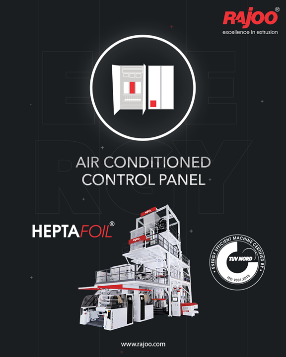 The Brilliant 7 Layer Co-Ex Blown Film machine Heptafoil is equipped with an Air-conditioned Control Panel for better performance.  #RajooEngineers #Rajkot #PlasticMachinery #Machines #PlasticIndustry