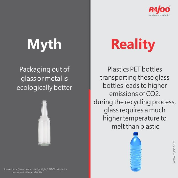 It's a Myth that packaging of glass or metal is ecologically better. In reality, it is not the case. Plastic PET bottles transporting these glass bottles lead to higher emissions of CO2. Furthermore, During the Recycling process, glass requires a much higher temperature to melt than plastic.  #RajooEngineers #Rajkot #PlasticMachinery #Machines #PlasticIndustry