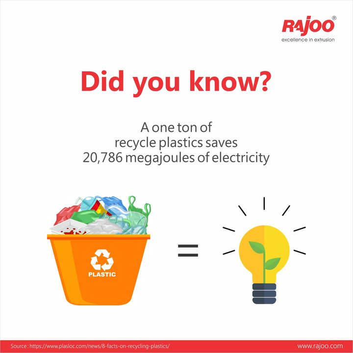 A major goal of recycling is to save energy and contribute towards sustainability of the nature.   It may look a little strange but it is true that one ton of recycled plastic saves 20,786 mega-joules of electricity. It is absolutely important to understand the importance of energy conservation and so each one of us must contribute in the best possible manner.  #BenefitsOfPlastic #RajooEngineers #Rajkot #PlasticMachinery #Machines #PlasticIndustry