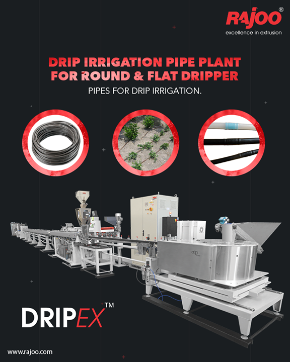 Dripex - Drip Irrigation Pipe Plant extruders are offered with direct coupled motors, manual or hydraulic screen changer, two stainless steel Vacuum sizing tank and cooling system for precise water pressure, high corrosion resistant and long useful life.   The 3-axis mechanical adjustment system with lateral position control allows quick precise positioning. The double belt haul-off is provided for optimum pulling force and to prevent ovality in pipe.  #RajooEngineers #Rajkot #PlasticMachinery #Machines #PlasticIndustry