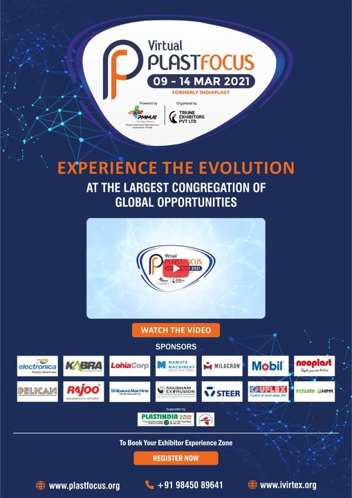 Get excited for the biggest virtual exhibition of plastic industry Plastfocus 2021.   To participate register now https://www.ivirtex.org/  #PlastFocus #RajooEngineers #Rajkot #PlasticMachinery