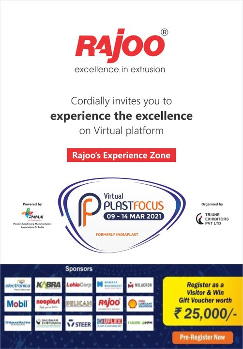 We cordially invite you to the inaugural ceremony of the most awaited biggest virtual event in the marketplace for the Global Plastic Industry.  #PlastFocus #RajooEngineers #Rajkot #PlasticMachinery