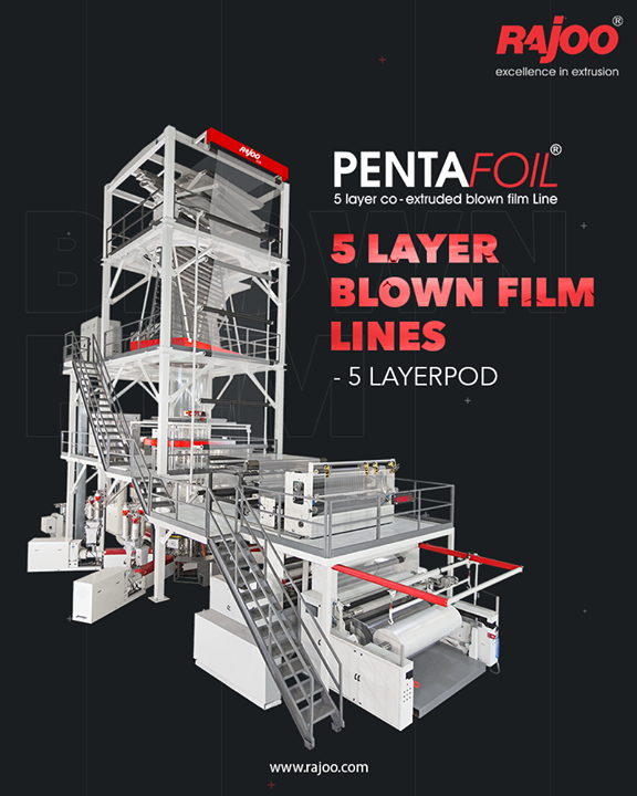 5 Layer co-ex blown film lines are tailored to meet specific needs, for both barrier and non-barrier POD films for various application segments such as collation shrink films, lamination grade films, milk, and water pouches, edible oils, and more with outputs ranging from 250 kg/hr to 1500 kg/hr and lay-flat width ranging from 1200mm to 5000mm.  #RajooEngineers #Rajkot #PlasticMachinery #Machines #PlasticIndustry