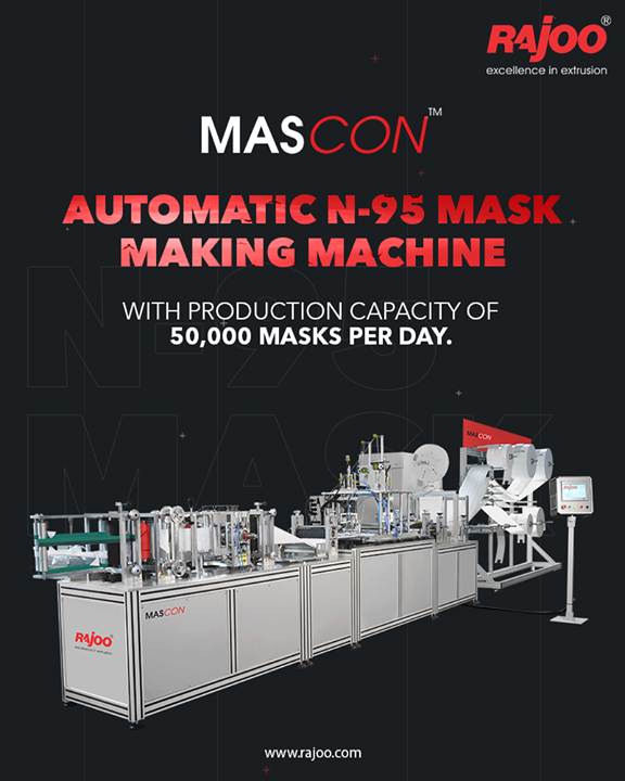 N-95 masks made on Rajoo's machines are designed to achieve a very close facial fit and extremely efficient filtration of airborne droplets and particles. The edges of the respirator are designed to form a seal around the nose and mouth.  #RajooEngineers #Rajkot #PlasticMachinery #Machines #PlasticIndustry