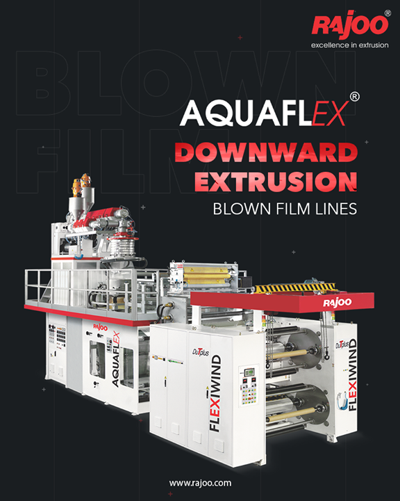 The AQUAFLEX has downward blown film line uses chilled water instead of air to cool the bubble and offers fast cooling which keeps the crystallinity of the film low while maintaining its amorphous nature resulting in high clarity film with gloss and exceptional puncture and tear resistance.  #RajooEngineers #Rajkot #PlasticMachinery #Machines #PlasticIndustry