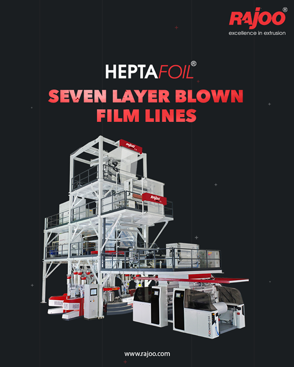 7 Layer Co-Ex blown film lines meets a majority of the industry's critical packaging development needs. 7 layer co-extruded blown film line is even used for complex packaging solutions with a maximum output of 1500 kg/hour and lay-flat width ranging from 1500mm to 4500 mm to produce both barrier films and non-barrier films. The range of applications include films for long shelf life packaging of edible oils, UHT milk, liquid and solid container liners and technical applications.  #RajooEngineers #Rajkot #PlasticMachinery #Machines #PlasticIndustry