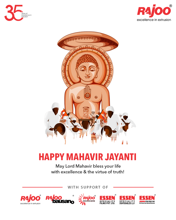 May Lord Mahavir bless your life  with excellence & the virtue of truth!  #MahavirJayanti #LordMahavir #MahavirJayanti2021 #RajooEngineers #Rajkot #PlasticMachinery #Machines #PlasticIndustry