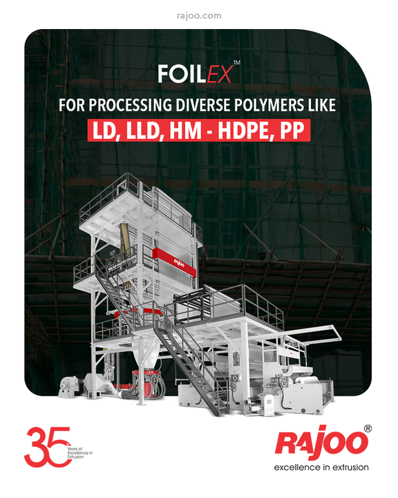FOILEX - series of monolayer blown film lines are available with outputs ranging from 50 kg/hr to 1000 kg/hr and lay-flat widths ranging from 500 mm to 5000 mm for processing polymers as diverse as LD, LLD, HM - HDPE, PP.  #RajooEngineers #Rajkot #PlasticMachinery #Machines #PlasticIndustry
