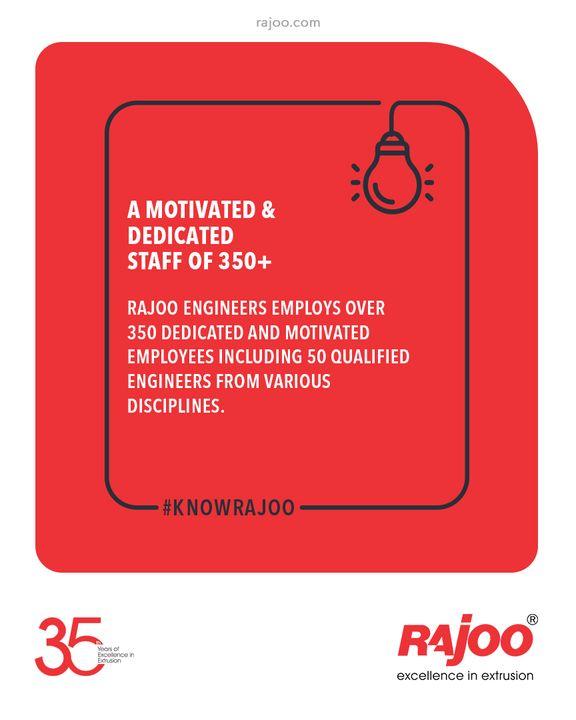 A Motivated & Dedicated staff of 350+  Rajoo Engineers employs over 350 dedicated and motivated employees including 50 qualified engineers from various disciplines.  #RajooEngineers #Rajkot #PlasticMachinery #Machines #PlasticIndustry