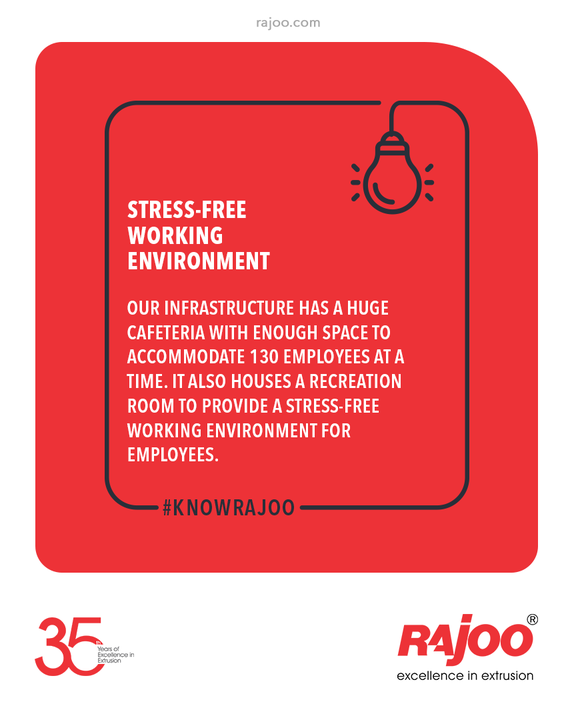 #KnowRajoo Our infrastructure has a huge cafeteria with enough space to accommodate 130 employees at a time. It also houses a recreation room to provide a stress-free working environment for employees.  #RajooEngineers #Rajkot #PlasticMachinery #Machines #PlasticIndustry