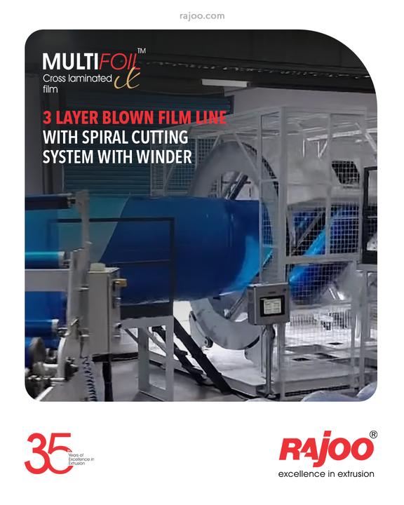 Multifoil – X, a combo product of 3 layer blown film line with a spiral cutting system with winder and stretching & laminating line backed by proven engineering experience of Rajoo for over three decades for Cross Laminated film aimed at helping with specific yet customized insights that are relevant to market-specific challenges.  #RajooEngineers #Rajkot #PlasticMachinery #Machines #PlasticIndustry