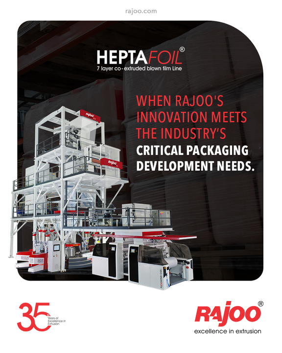 7 layer co-extruded blown film line, Heptafoil, is even used for complex packaging solutions with a maximum output of 1500 kg/hour and lay-flat width ranging from 1500mm to 4500 mm to produce both barrier films and non-barrier films. The range of applications includes films for long shelf life packaging of edible oils, UHT milk, liquid, and solid container liners, and technical applications. Films for lidding, frozen food packaging, meat packaging, and vacuum packaging are also produced on these lines. Both, symmetrical and asymmetrical films are produced with minimum curling incorporating a water bath for annealing.  #RajooEngineers #Rajkot #PlasticMachinery #Machines #PlasticIndustry