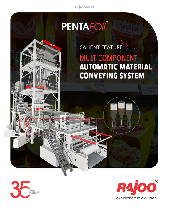 The feature-rich Pentafoil comes equipped with a Multicomponent Automatic Material Conveying System for your convenience.  #RajooEngineers #Rajkot #PlasticMachinery #Machines #PlasticIndustry