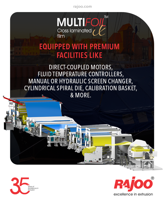 Our 3 Layers blown film extruders come with premium facilities like Direct-Coupled Motors, Fluid Temperature Controllers, Manual or Hydraulic Screen Changer, Cylindrical Spiral Die, Calibration Basket, & more.  #RajooEngineers #Rajkot #PlasticMachinery #Machines #PlasticIndustry