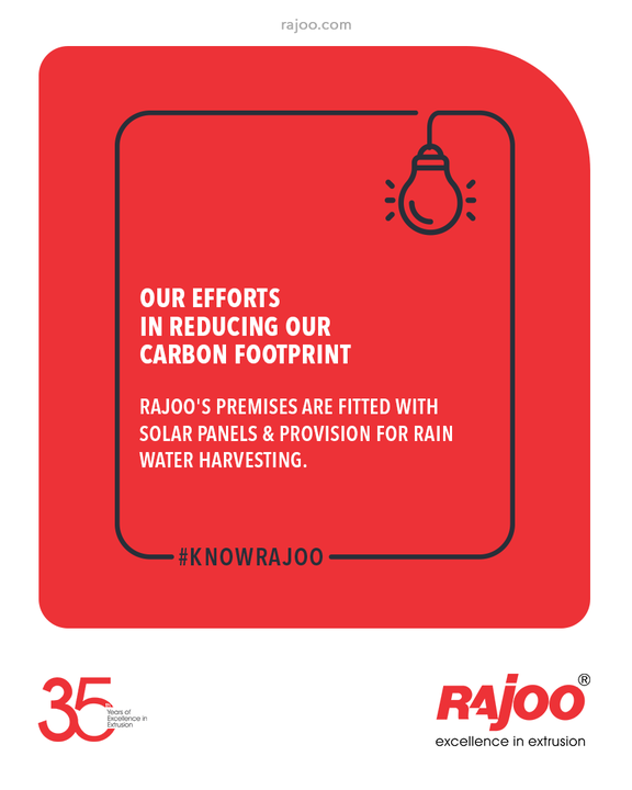 #KnowRajoo  Our Efforts in Reducing our Carbon Footprint  Rajoo's premises are fitted with Solar Panels & provision for Rain Water Harvesting.   #RajooEngineers #Rajkot #PlasticMachinery #Machines #PlasticIndustry