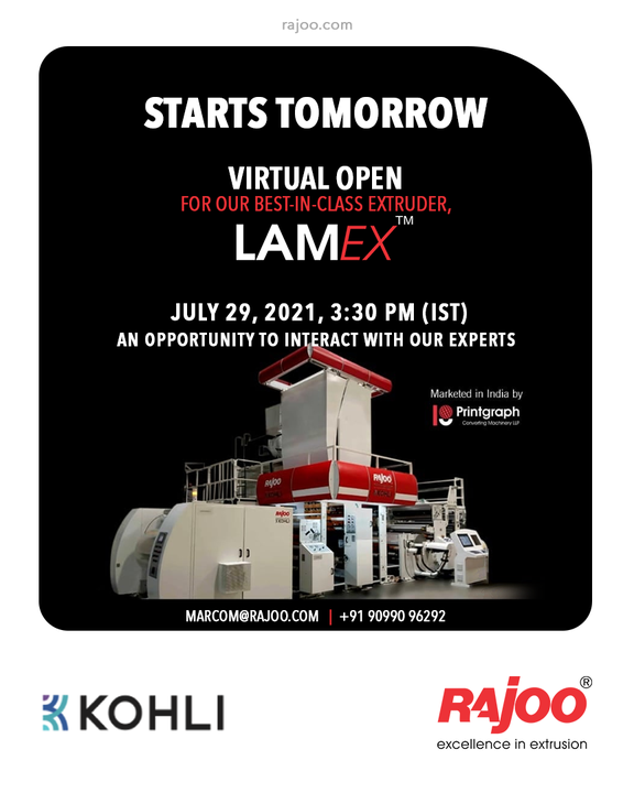Starts Tomorrow - Register Now  Open House of the state of the art, LAMEX Extrusion Coating & Lamination Line with Speeds of 350 mpm.  Witness live streaming from our customer Balaji Multiflex Pvt. Ltd. and ask your questions in an interactive session with our experts.  Block Your Calendar: Thursday, July 29, 2021 @3:30pm(IST) Register now: https://bit.ly/3xgeBf8  Share your questions or queries on marcom@rajoo.com  #VirtualOpenHouse #UpcomingEvent #LAMEX #RajooEngineers #Rajkot #PlasticMachinery #Machines #PlasticIndustry #StayTuned #Exhibition