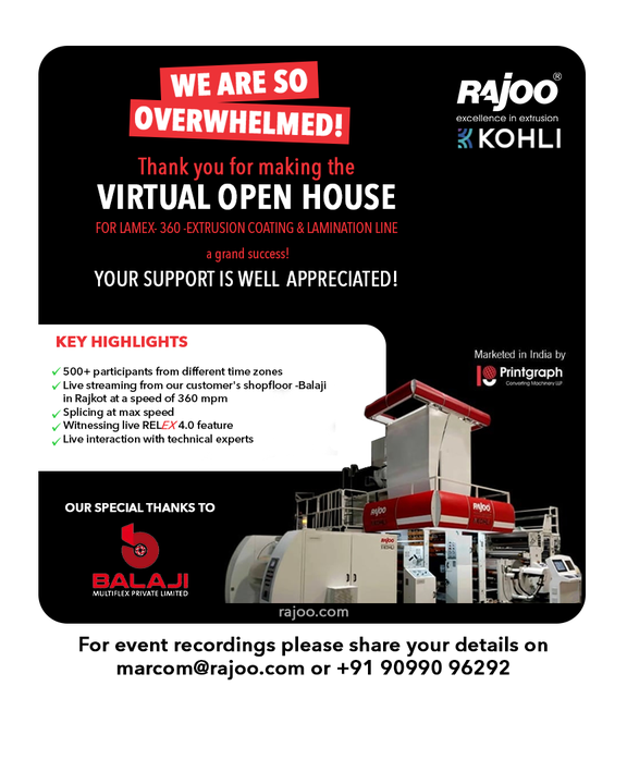 We are overwhelmed and lost for words! The Virtual Open House for our Extruder, Lamex, was a Grand Success.  Thank you for your impeccable support to Rajoo Engineers & LAMEX.  #ThankYou #VirtualOpenHouse #LAMEX #RajooEngineers #Rajkot #PlasticMachinery #Machines #PlasticIndustry #Exhibition