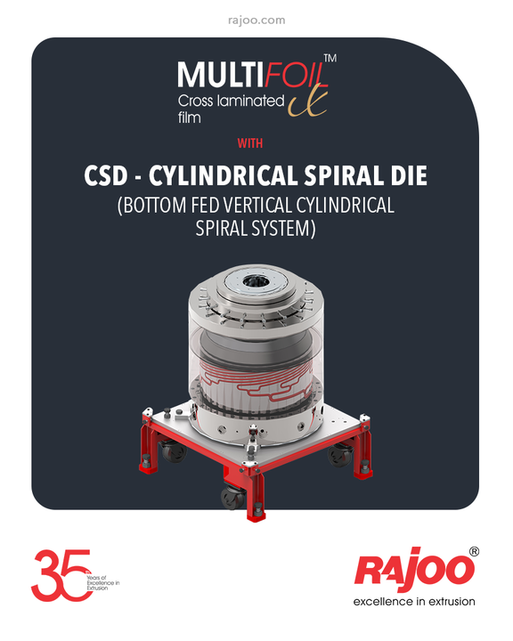 Multifoil X – 3 layer blown film extruders are equipped with CSD - Cylindrical Spiral Die (bottom fed vertical cylindrical spiral system).  #RajooEngineers #Rajkot #PlasticMachinery #Machines #PlasticIndustry