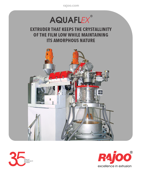 Thanks to the chilled water used instead of air to cool the bubbles, Aquaflex offers fast cooling that keeps the crystallinity of the film low while maintaining its amorphous nature.  #RajooEngineers #Rajkot #PlasticMachinery #Machines #PlasticIndustry