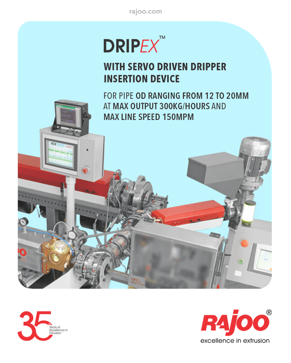 Rajoo Enginner's drip irrigation extrusion systems for round and flat dripper comes with Servo Driven Dripper Insertion Device for pipe OD ranging from 12 to 20mm at max output 300kg/hours and max line speed 150mpm.  #RajooEngineers #Rajkot #PlasticMachinery #Machines #PlasticIndustry