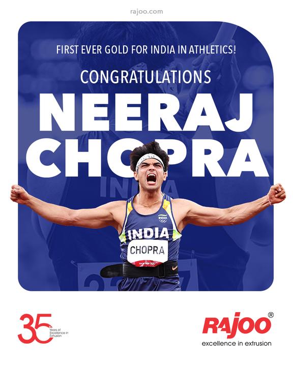 First ever gold for India in Athletics!  Congratulating Neeraj Chopra  #NeerajChopra #JavelinThrow #GoldMedal #Gold #India #Champion #TokyoOlympics #Olympics #Olympics2020 #RajooEngineers #Rajkot #PlasticMachinery #Machines #PlasticIndustry