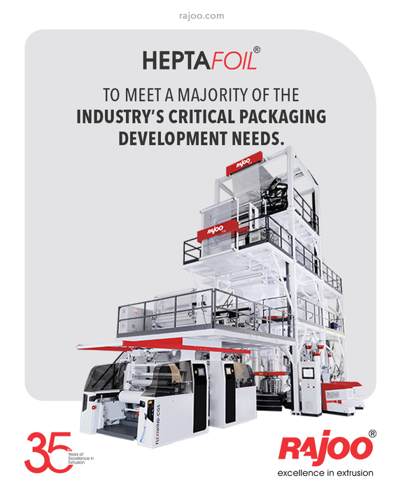 Our 7 Layer Co-Ex blown film lines, Heptafoil, were developed to meet a majority of the industry's critical packaging development needs. It has a maximum output of 1500 kg/hour and lay-flat width ranging from 1500mm to 4500 mm to produce both barrier films and non-barrier films.  #RajooEngineers #Rajkot #PlasticMachinery #Machines #PlasticIndustry