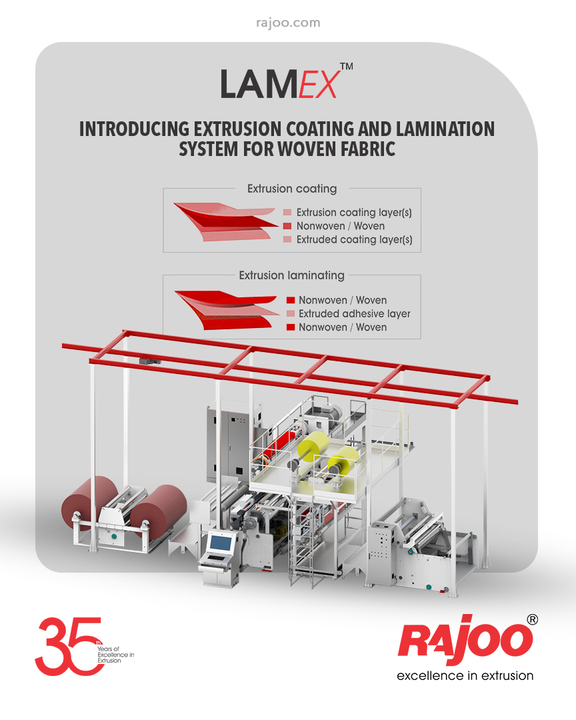 Introducing our Extrusion Coating & Lamination System for the Woven Industry, #LAMEX.  Lamex line of extruders by Rajoo Engineers is designed for absolute ease of operation and are available in a host of configurations to suit individual customer's requirements for width range from 800 – 1600 mm, line speed from 250-400 m/min for coating & lamination of various substrates like CPP/BOPET/BOPP/LDPE and sealant films with a range of polymers – PP, LLDPE, LDPE, EVA, EMA, and other exotic polymers.  #RajooEngineers #Rajkot #PlasticMachinery #Machines #PlasticIndustry