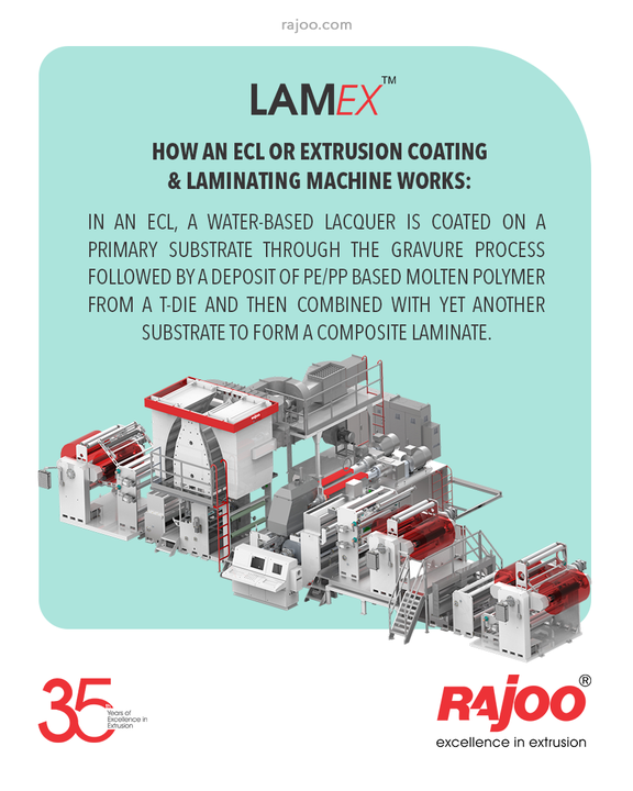How an ECL or Extrusion Coating & Laminating Machine works:  In an Extrusion Coating and Laminating machine (ECL in short) a water-based lacquer is coated on a primary substrate through the gravure process followed by a deposit of PE / PP based molten polymer from a T-Die and then combined with yet another substrate to form a composite laminate. This technology is rapidly replacing many solvent-based and solvent less laminating applications.  #RajooEngineers #Rajkot #PlasticMachinery #Machines #PlasticIndustry