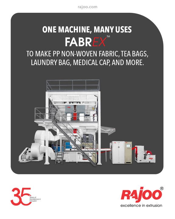Our MELT BLOWN FABRIC MAKING MACHINE is one machine with many applications such as PP Non-Woven Fabric, Tea Bags, Laundry Bag, Medical Cap, and more.  #RajooEngineers #Rajkot #PlasticMachinery #Machines #PlasticIndustry
