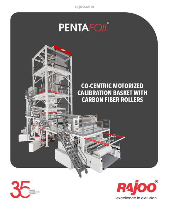 The Versatile 5 Layer Blown Film Line from Rajoo Engineers, Pentafoil, is equipped with a Co-Centric Motorized Calibration Basket with Carbon Fiber Rollers to stabilize the blown film bubble directly over the die and air ring which in turn increases the production rate.  #RajooEngineers #Rajkot #PlasticMachinery #Machines #PlasticIndustry