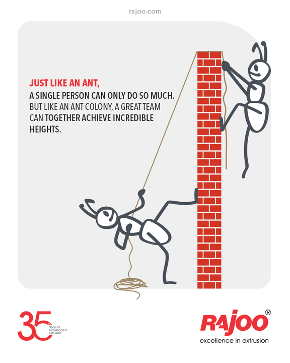 Just like an ant, a Single Person can only do so much. But like an Ant Colony, a Great Team can together Achieve Incredible Heights.  #QOTD #RajooEngineers #Rajkot #PlasticMachinery #Machines #PlasticIndustry