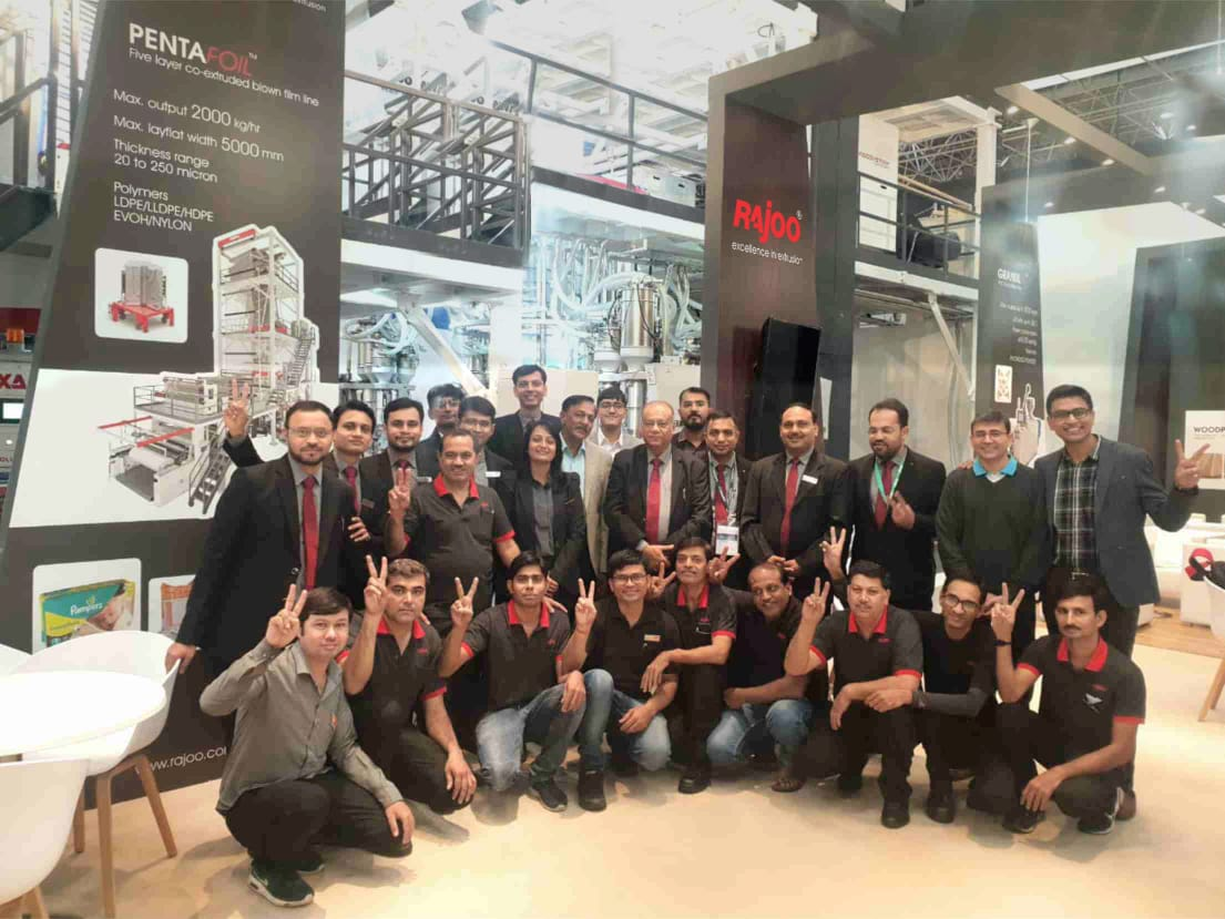 Rajoo Engineers Limited,India at #K2019 Germany!  #RajooEngineers #PlasticMachinery #Machines #PlasticIndustry #twin screw rpet sheet extrusion #7 layer blown film plant https://t.co/IcH9EGC5mo
