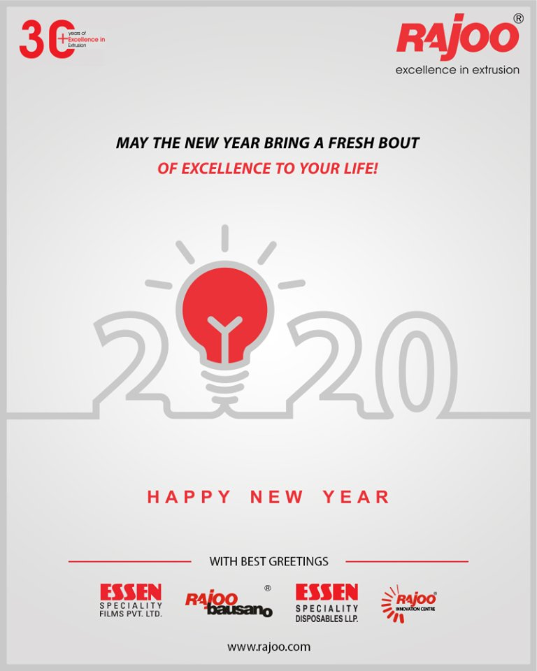 May the new year bring a fresh bout of excellence to your life!  #NewYear2020 #HappyNewYear #NewYear #Happiness #Joy #2k20 #Celebration #RajooEngineers #Rajkot #PlasticMachinery #Machines #PlasticIndustry https://t.co/2VtGxlQz14