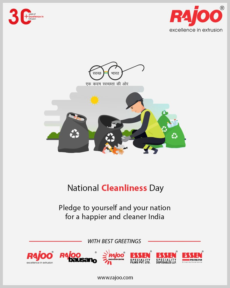Pledge to yourself and your nation for a happier and cleaner India.  #NationalCleanlinessDay #CleanIndia #RajooEngineers #Rajkot #PlasticMachinery #Machines #PlasticIndustry https://t.co/u7VMQmHnae