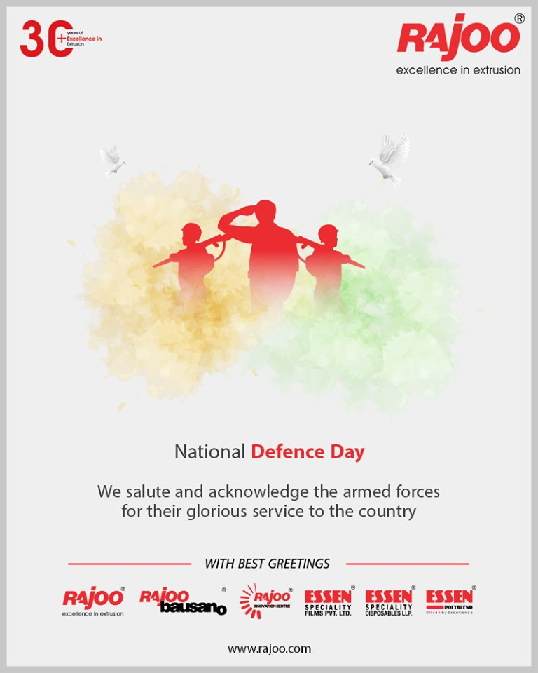 We salute and acknowledge the armed forces for their glorious service to the country.  #NationalDefenceDay #RajooEngineers #Rajkot #PlasticMachinery #Machines #PlasticIndustry https://t.co/sr9XuNojCE