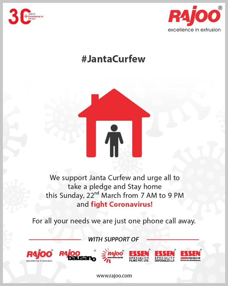 We support Janta Curfew and urge all to take a pledge and Stay home this Sunday, 22nd March from 7 AM to 9 PM and fight Coronavirus!For all your needs we are just one phone call away.  #IndiaFightsCorona #JantaCurfew #RajooEngineers #Rajkot #PlasticMachinery #PlasticIndustry https://t.co/WAJh7Itjcq