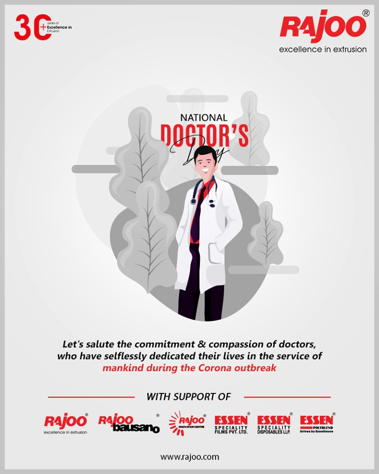 Let's salute the commitment & compassion of doctors, who have selflessly dedicated their lives in the service of mankind during the corona outbreak.  #DoctorsDay #NationalDoctorsDay #Doctorsday2020 #RajooEngineers #Rajkot #PlasticMachinery #Machines #PlasticIndustry https://t.co/xMJpsUKE8B