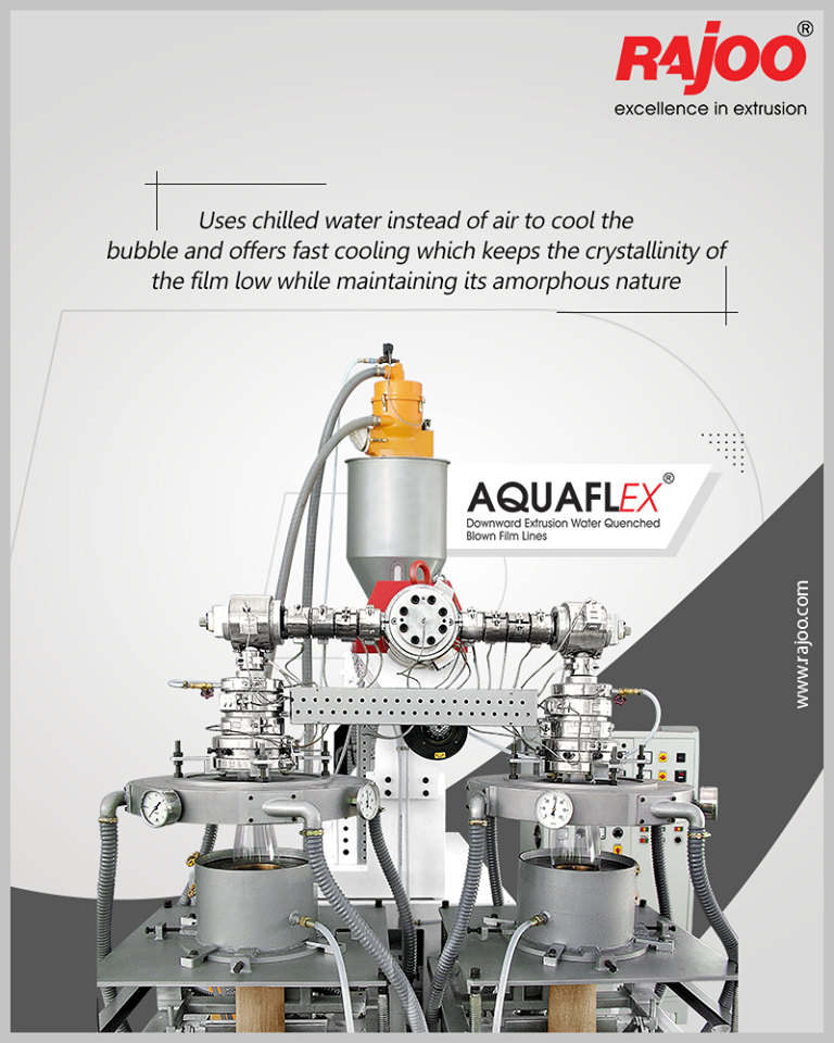 AQUAFLEX downward blown film line uses chilled water instead of air to cool the bubble and offers fast cooling   ReadMore:https://t.co/Q4IBftiAmk  #RajooBausano #RBE #Engineering #Excellence #CompositeExtrusion #Technology #Infrastructure #PlasticExtrusionMachinery https://t.co/4ebKawaYcK