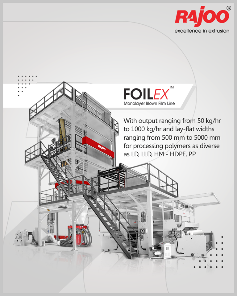 FOILEX - series of monolayer blown film lines are available with outputs ranging from 50 kg/hr to 1000 kg/hr and lay-flat widths ranging from 500 mm to 5000 mm for processing polymers as diverse as LD, LLD, HM - HDPE, PP  #RajooEngineers #Rajkot #PlasticMachinery #PlasticIndustry https://t.co/Q0i6RAvCQy