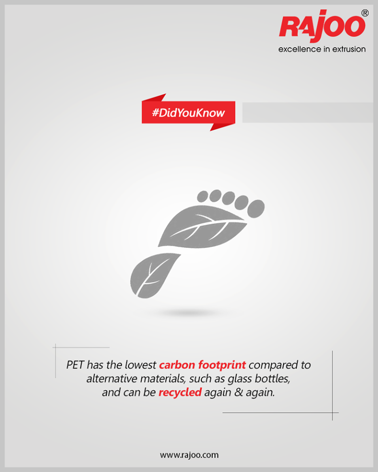 #DidYouKnow  PET has the lowest carbon footprint compared to alternative materials, such as glass bottles, and can be recycled again & again.  #PlasticFacts #RajooEngineers #Rajkot #PlasticMachinery #Machines #PlasticIndustry https://t.co/WuO8h6M31r