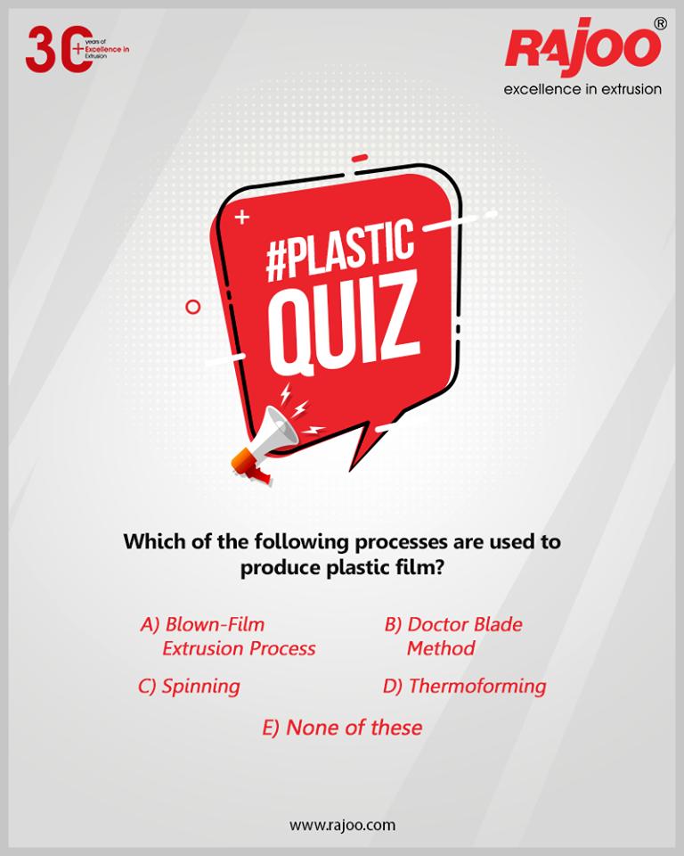 #PlasticQuiz  Which of the following processes are used to produce plastic film?  #RajooEngineers #Rajkot #PlasticMachinery #Machines #PlasticIndustry #PlasticSheet #PlasticFilm https://t.co/MGc3lP9gmL