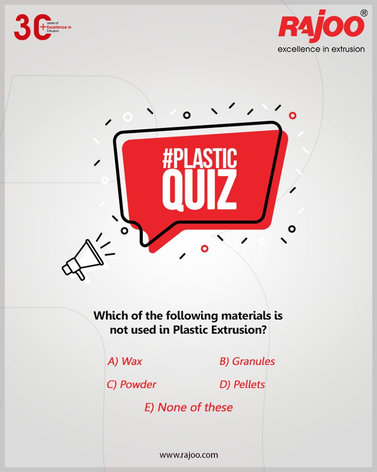 #PlasticQuiz  Which of the following materials is not used in Plastic Extrusion?  Do you know the answer? tell us in the comments below!  #RajooEngineers #Rajkot #PlasticMachinery #Machines #PlasticIndustry #PlasticSheet #PlasticFilm https://t.co/5WsEW25Dcp