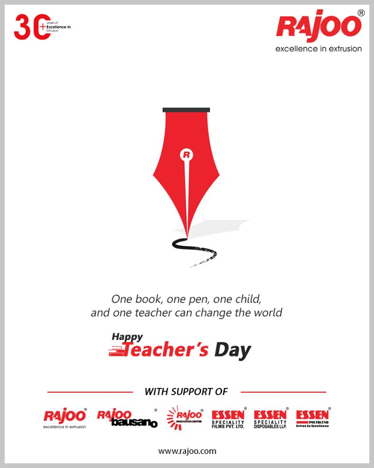 One book, one pen, one child, and one teacher can change the world.  #HappyTeachersDay #TeachersDay #Guru #TeachersDay2020 #ShriSarvepalliRadhakrishnan #RajooEngineers #Rajkot #PlasticMachinery #Machines #PlasticIndustry https://t.co/IbbPnDg6NF
