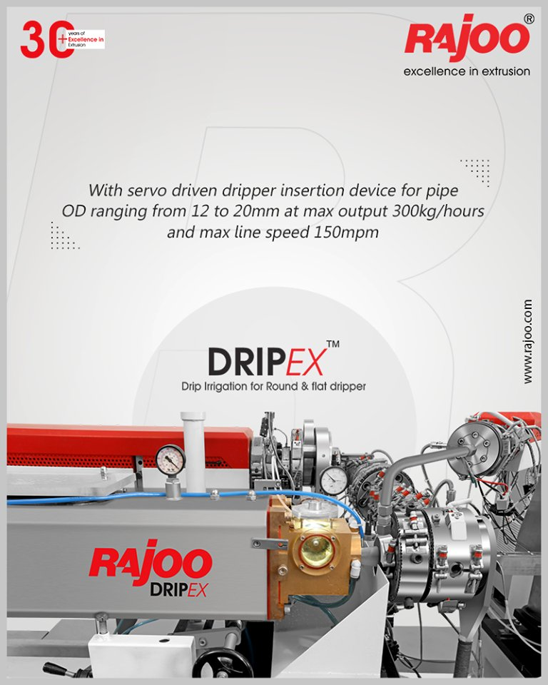 Drip Irrigation Extrusion Systems with servo driven dripper insertion device for pipe OD ranging from 12 to 20mm at max output 300kg/hours and max line speed 150mpm.  #RajooEngineers #Rajkot #PlasticMachinery #Machines #PlasticIndustry https://t.co/nhOPvRjBUt