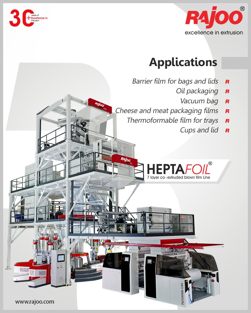 Heptafoil by Rajoo Engineers Limited can be used for Barrier film for bags and lids, Oil packaging, Vacuum bag, Cheese and meat packaging films, a Thermoformable film for trays, cups.  #RajooEngineers #Rajkot #PlasticMachinery #Machines #PlasticIndustry https://t.co/uKB78jnlvX