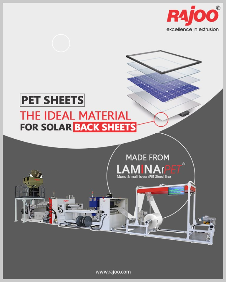 Rajoo Engineers Limited's highly versatile LAMINA can be used to make the 'ideal material' for solar panel back sheets - PET-based back sheets.  #RajooEngineers #Rajkot #PlasticMachinery #Machines #PlasticIndustry https://t.co/djGfV3lxqy