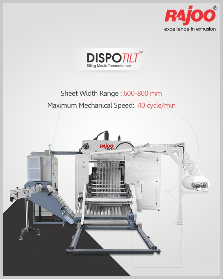 Dispotilt by Rajoo Engineers Limited offers sheet width range of 600-800 mm and maximum mechanical speed of 40 cycles/min. For Inquiries, call 9712932706  #RajooEngineers #Rajkot #PlasticMachinery #Machines #PlasticIndustry https://t.co/89DZ5jE6AU
